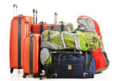 Luggage consisting of large suitcases rucksacks and travel bag — Stockfoto