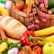 ������, ������: Assorted grocery products including vegetables fruits wine bread