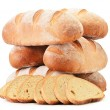Composition with loafs of bread isolated on white background — Stock Photo
