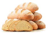 Složení s šišky chleba izolovaných na bílém pozadí — Stock fotografie