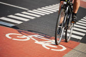 Bicycle road sign and bike rider — Stockfoto