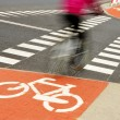 Bicycle road sign and bike rider — Stock Photo