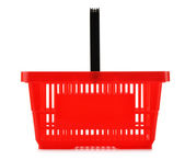 白で隔離される空のプラスチック ショッピング バスケット — ストック写真