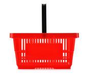 Empty plastic shopping basket isolated on white — Stock Photo