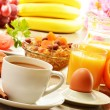 Breakfast with coffee, orange juice, croissant, egg, vegetables — Stock Photo