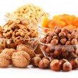 Composition with nuts isolated on white — Stock Photo