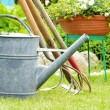 Watering can and garden tools — Stock Photo