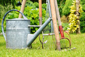 Watering can and garden tools — Stock fotografie