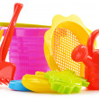 Plastic children toys for playing in sandpit or on a beach — Stock Photo