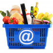 Plastic shopping basket with variety of grocery products — Stock Photo #26805125