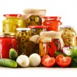 Composition with jars of pickled vegetables. Marinated food — Stock Photo #26805237