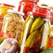Composition with jars of pickled vegetables. Marinated food — 图库照片