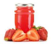 Jar of strawberry jam isolated on white background. — Stock Photo
