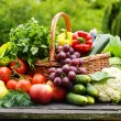 Fresh organic vegetables in wicker basket in the garden — Stock Photo #27322731