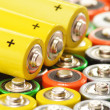 Composition with alkaline batteries. Chemical waste — Stock Photo #27825933