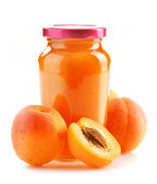 Composition with jar of apricot jam isolated on white — Stock Photo