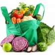 Shopping bag with variety of fresh organic vegetables — Stock Photo