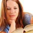 Young woman reading a book. Female student learning — Foto de Stock