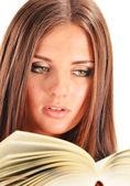 Giovane donna leggendo un libro. studentessa di apprendimento — Foto Stock