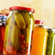 Composition with jars of pickled vegetables. Marinated food — Stock Photo