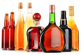 Assorted alcoholic beverages isolated on white — Stock Photo