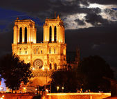 Notre-Dame Cathedral in Paris, France after sunset — Stock Photo