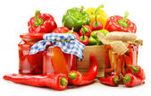 Composition with assorted peppers isolated on white background — Stock Photo