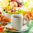 Breakfast with coffee, orange juice, croissant, egg, vegetables — Stok fotoğraf