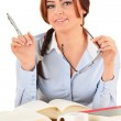 Young woman reading a book. Female student learning. — Stock Photo