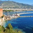 View of Alanya harbor form Alanya peninsula. Turkish Riviera — Stock Photo #34807803
