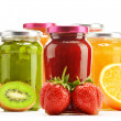 Composition with jars of fruity jams on white. Preserved fruits — Stock Photo