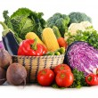 Composition with variety of fresh raw organic vegetables — Stock Photo