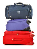 Luggage consisting of large suitcases and travel bag on white — Stock Photo