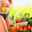 Постер, плакат: Dieting Balanced diet based on raw organic vegetables