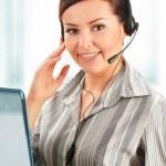 Call center operator. Customer support. Help desk. — Stock Photo