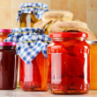 Jars of marinated food. Pickled vegetables and jams — Stock Photo