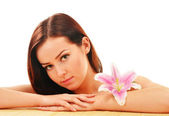 Beautiful young woman during spa treatment — Stock Photo