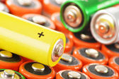 Composition with alkaline batteries. Chemical waste — Stock Photo