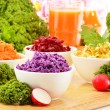 Composition with four vegetable salad bowls — Stock Photo