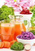 Composición con cuatro tazones de fuente de ensalada de verduras — Foto de Stock