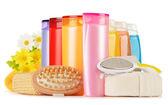 Plastové lahve tělo péče a kosmetických výrobků — Stock fotografie