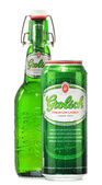 Bottle and can of Grolsch beer isolated on white — Stock Photo