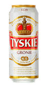 Can of Tyskie beer isolated on white — Foto Stock