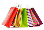 Paper shopping bags isolated on white background — Stock Photo