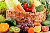 Wicker basket with groceries. Balanced diet — Stock Photo