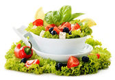 Vegetable salad bowl isolated on white — Stock Photo
