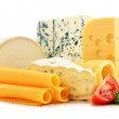 Different sorts of cheese isolated on white background — Stockfoto