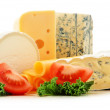 Different sorts of cheese isolated on white background — Stock fotografie