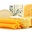 Different sorts of cheese isolated on white background — 图库照片 #45028275