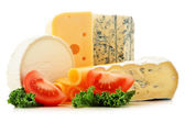 Different sorts of cheese isolated on white background — Stock Photo